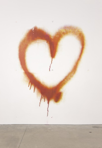 Mark Handforth, Bleeding Heart, 2010, Screenprint on wall, 230 x 195 cm
