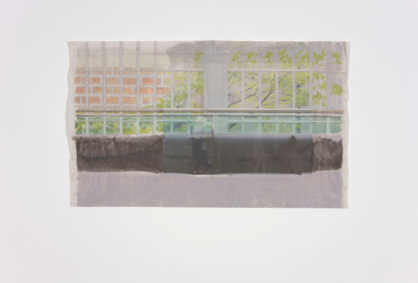 Tony Swain, Room by Room, 2011, Acrylic on pieced newspaper, 33 x 55 cm