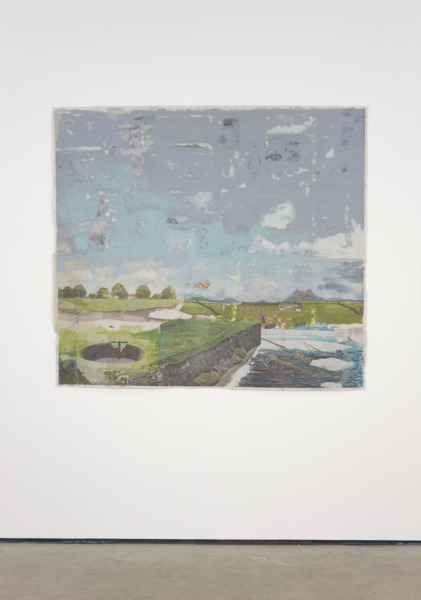 Tony Swain, To get is opposite got, 2011, Acrylic on pieced newspaper, 166 x 183 cm