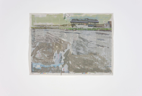 Tony Swain, Homes For Sometimes, 2011, Acrylic on pieced newspaper, 46.2 x 62.4 cm