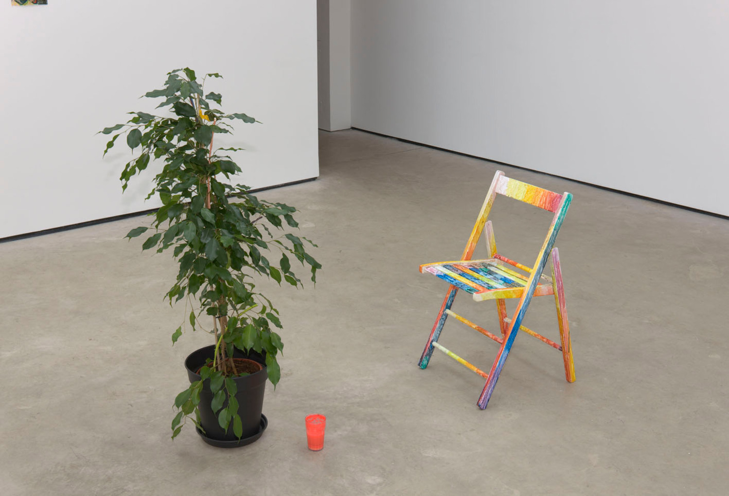 Hayley Tompkins, No Title (left), 2011 and Chair (right), 2011, Potted plant, clay, watercolour, fruit peel, leaf, plastic glass, powder paint, water (left); Watercolour on wood (right), Dimension Variable