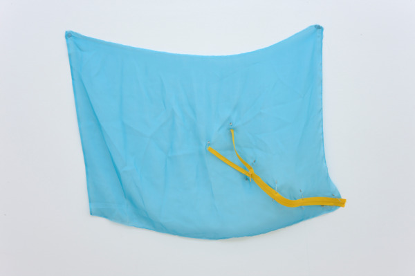 Sue Tompkins, Odyssey Blue, 2011, Chiffon, safety pins, zips, 52 x 72.5 cm