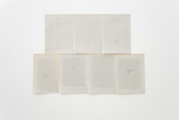 Sue Tompkins, Let/Get Your Skin Out, 2011, 7 sheets of typewritten text on A4 paper, 59.6 x 83.5 cm