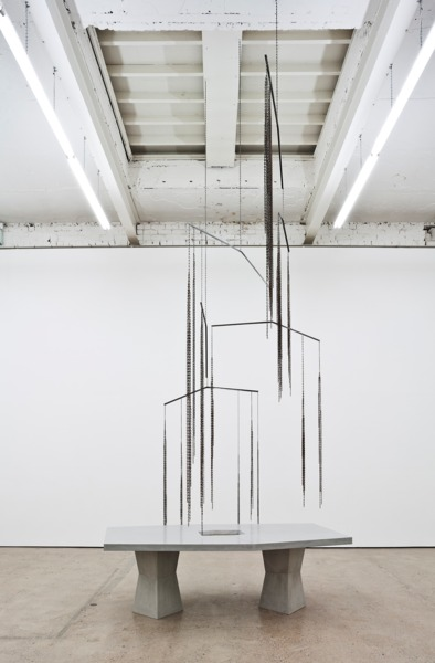 Martin Boyce, All Over / Again / and Again, 2013, Jesmonite, steel, chain and plywood, Overall dimensions variable