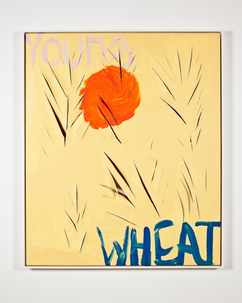 Sue Tompkins, Young Wheat, 2013, Acrylic on canvas, 124 x 104 x 4.3 cm