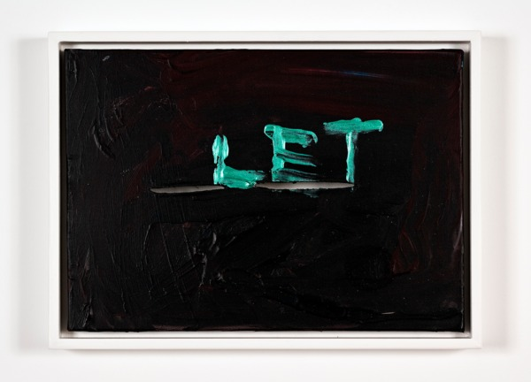 Sue Tompkins, Let, 2013, Acrylic and metallic paint on canvas, 28.5 x 39 x 4 cm