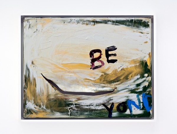 Sue Tompkins, Be Yond, 2013, Acrylic and metallic paint on canvas, 39 x 49 x 4 cm
