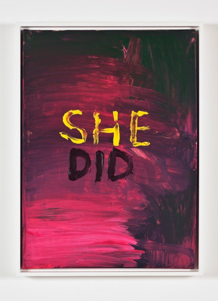 Sue Tompkins, She Did, 2013, Acrylic on canvas, 59 x 44 x 4 cm