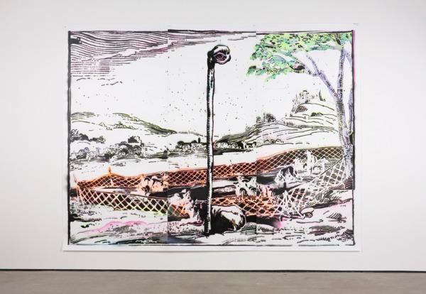 Simon Periton, Vigilante, 2013, Spray paint on paper, 313 x 411 cm