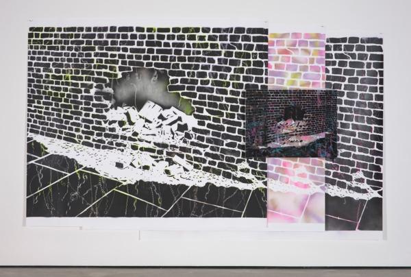 Simon Periton, Green Noise, 2013, Spray paint on paper, spray paint on glass, painted steel brackets, 193 x 310 x 6 cm