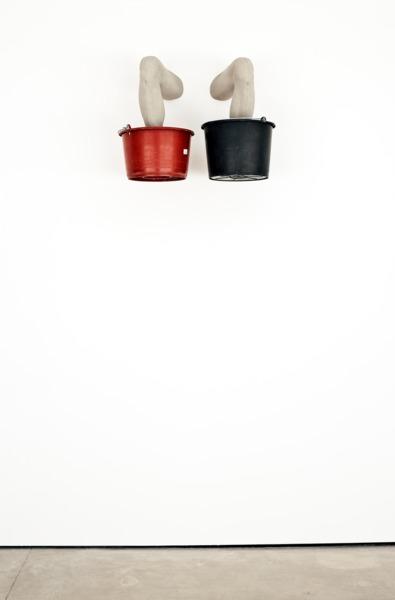 Adam McEwen, Legs, 2013, Modified gypsum, plastic buckets, 63 x 80 x 47.5 cm