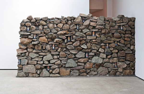 Adam McEwen, Untitled, 2013, Stone, beer cans, 222 x 420 x 50 cm