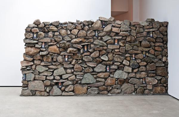Adam McEwen, Untitled, 2013, Stone, beer cans, 222 x 420 x 50 cm