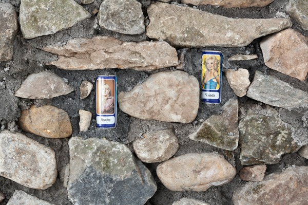 Adam McEwen, Untitled (detail), 2013, Stone, beer cans, 222 x 420 x 50 cm