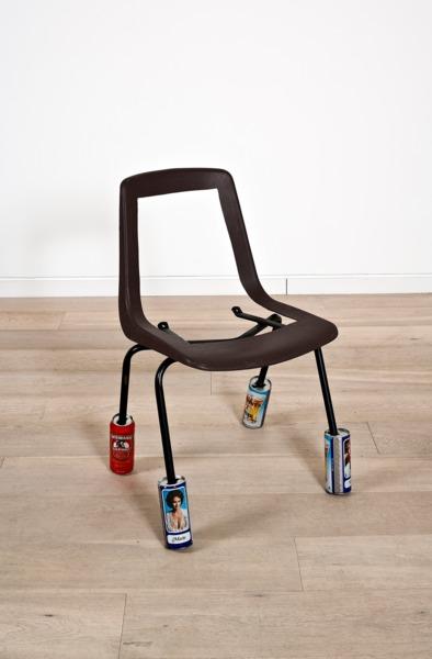 Adam McEwen, Untitled, 2013, Chair, beer cans, 79 x 53 x 51.5 cm
