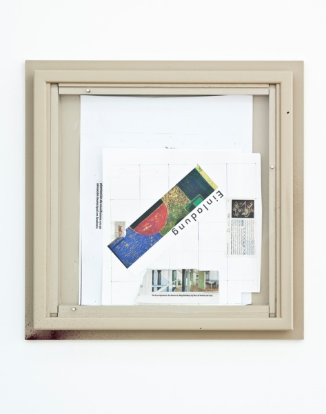 Manfred Pernice, <anexo> 9, 2013, Collage, spray paint and enamel paint on frame, 48 x 48 x 5 cm