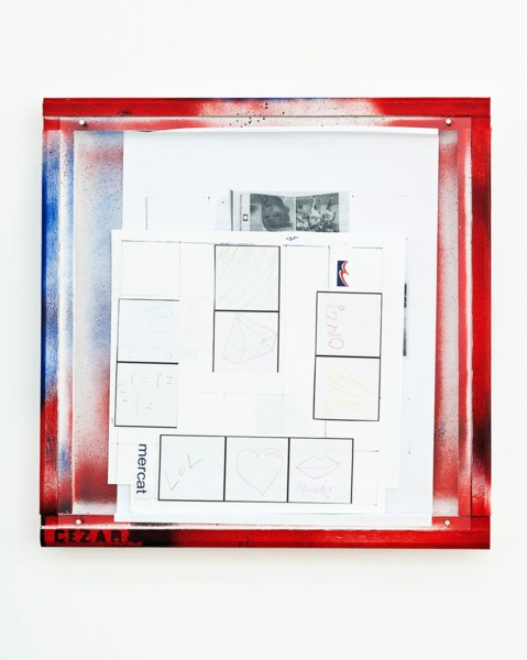 Manfred Pernice, Cassette «anexo» 12, 2013, Collage, enamel paint on frame, 42.5 x 42.5 x 4 cm