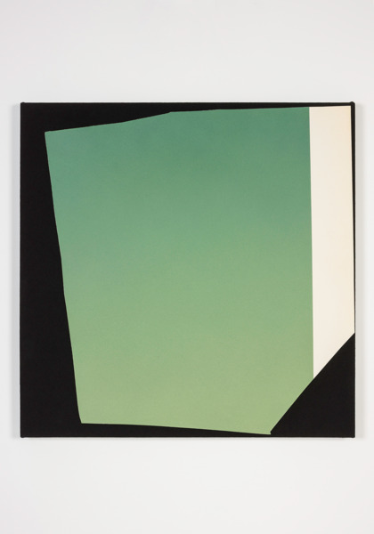 Kim Fisher, Magazine Painting (Green Earth), 2014, Oil on dyed linen, 96.5 x 96.5 x 4.5 cm