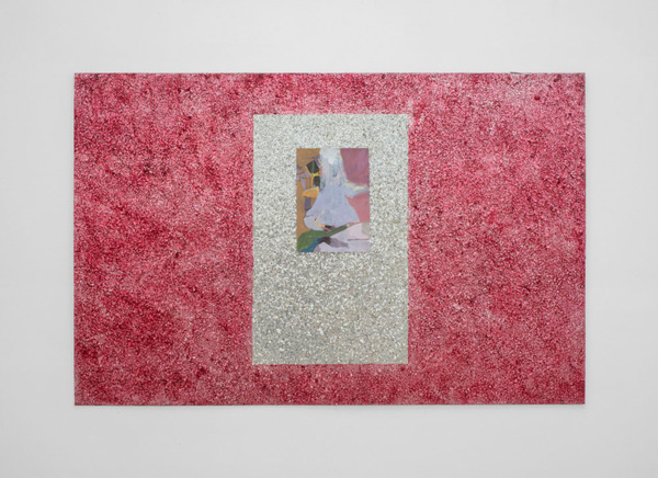 Andrew Kerr, Untitled, 2014, Acrylic on paper; frame: ink, medium, sand, found board, 94.6 x 145.5 cm