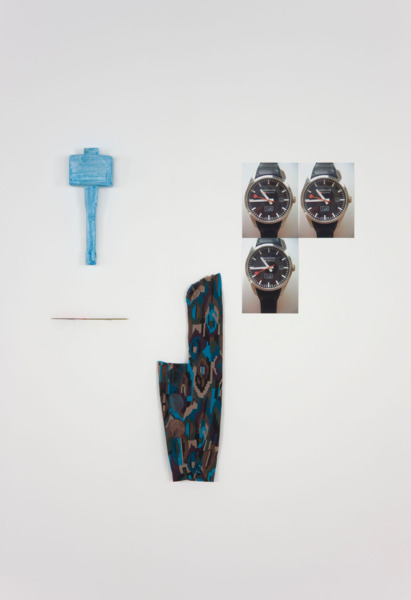 Hayley Tompkins, Armshell, 2011, Mallet, knife, sleeve, watercolour, digital colour photographs, Dimensions variable