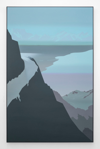 Alex Dordoy, Model T (Pastel Turquoise), 2015, Acrylic on canvas in powder-coated aluminium frame, 222 x 143 x 5 cm