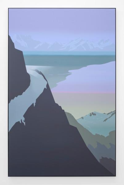 Alex Dordoy, Model T (Distant Blue), 2015, Acrylic on canvas in powder-coated aluminium frame, 222 x 143 x 5 cm