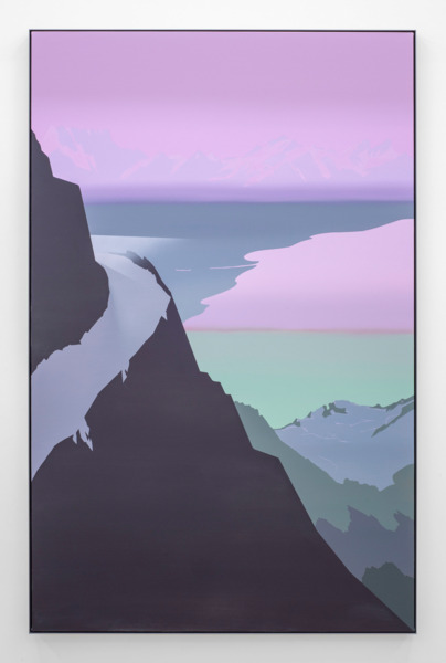 Alex Dordoy, Model T (Heather Violet), 2015, Acrylic on canvas in powder-coated aluminium frame, 222 x 143 x 5 cm