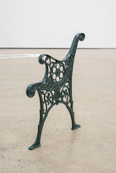Alex Dordoy, Dude the Obscure, 2015, Powder coated cast iron bench end, 71 x 60 x 4.5 cm