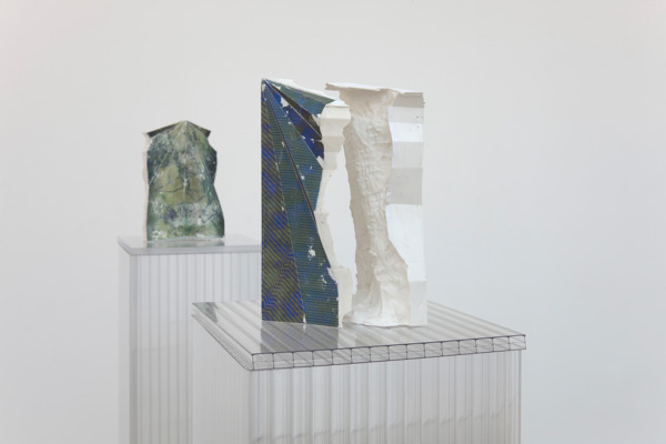 Alex Dordoy, Folded, Unfolded, Sunk and Scanned No. 13 (detail), 2012, Plaster, toner, Plinth: polycarbonate, 28 x 18 x 16 cm, Folded, Unfolded, Sunk and Scanned No. 19 (detail), 2012, Plaster, toner, Plinth: polycarbonate, 28 x 17 x 9 cm