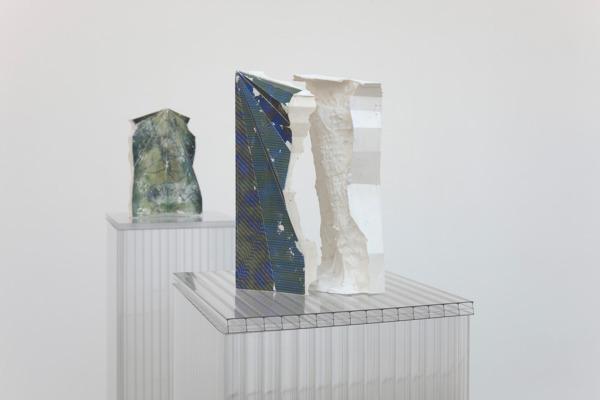 Alex Dordoy, Folded, Unfolded, Sunk and Scanned No. 13 (detail), 2012, Plaster, toner, Plinth: polycarbonate, 28 x 18 x 16 cm, Folded, Unfolded, Sunk and Scanned No. 19 (detail), 2012, Plaster, toner, Plinth: polycarbonate, 28 x 17 x 9 cm