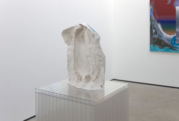 Alex Dordoy, Folded, Unfolded, Sunk and Scanned No. 17 (detail), 2012, Plaster, toner, Plinth: polycarbonate, 28 x 17 x 7 cm