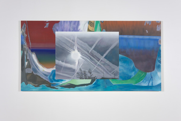 Alex Dordoy, Four times it will appear around the sun, 2012, Oil on canvas, 125 x 250 x 5 cm