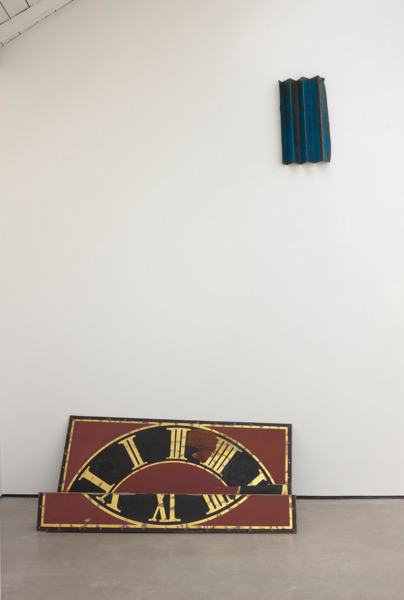 Katja Strunz, Tension/Compression (1), 2012, Clock face, steel, 55 x 176 x 120 cm (bottom), 64 x 38 x 10.5 cm (top)