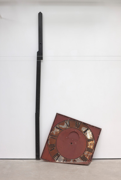 Katja Strunz, Bending Moment 2012, Clock hand, clock face, Dimensions variable