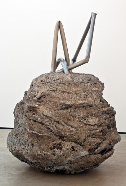 Monika Sosnowska, Untitled, 2012, Stainless steel, concrete, 225 x 280 x 150 cm