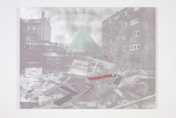 Toby Paterson, Commute, 2014, Acrylic and silkscreen on aluminium, 75 x 100 x 3 cm