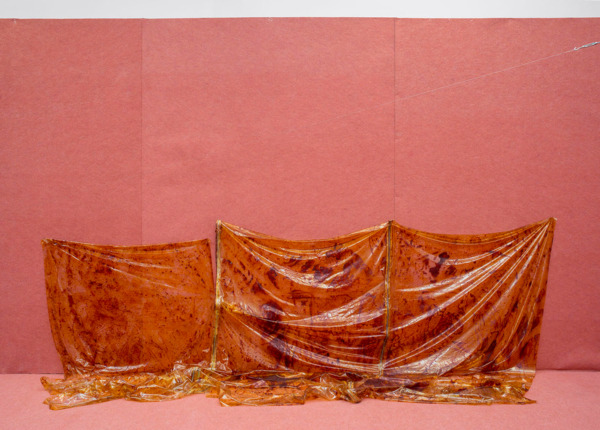 Tobias Madison, Gateshifter, 2014, Vinyl, zippers, iodine, 117 x 400 x 80 cm