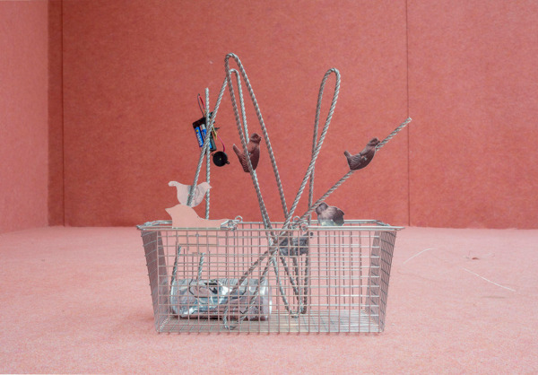 Tobias Madison, The Dimension Where Flesh and Metal Have Always Been the Same Thing, 2014, Stainless steel, metal basket, painted aluminum, electronics, 44 x 40 x 28 cm
