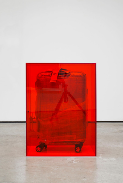 Scott Myles, Mummies (v), 2014, Suitcase, plastic wrap, perspex, screen-printing ink, 83.5 x 62.4 x 39 cm