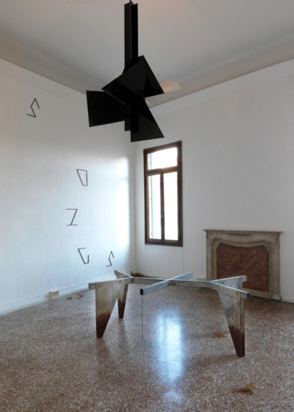 Martin Boyce, Petrified Songs, 2009, Burnished brass, powder-coated aluminum, steel chain, electrical components, galvanised steel, chain, Dimensions variable, Installation view 'No Reflections: Scotland and Venice,' Venice Biennale, 2009