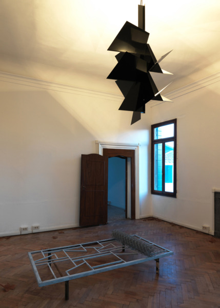 Martin Boyce, A Raft in the Roof, 2009, Steel, galvanised steel, chain-link, powder-coated aluminium, steel chain, electrical components , Dimensions variable, Installation view 'No Reflections: Scotland and Venice,' Venice Biennale, 2009