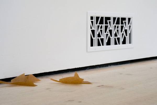 Martin Boyce, Do Words Have Voices (details), 2011, Powder coated aluminium, aluminium, galvanised steel, wood, electrical components, painted steel, brass, powder coated steel, fabric, Jesmonite and steel, Dimensions variable, Installation view  'Turner Prize 2011', Baltic Centre for Contemporary Art, Gateshead, 2011