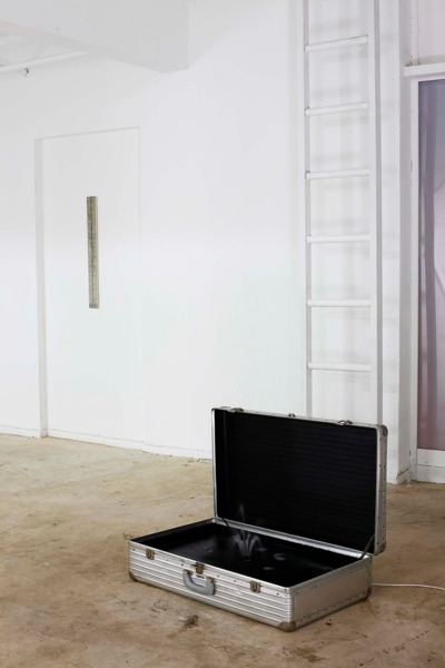 Alex Dordoy, Holiday Vampires 1, 2013, Altered suitcase, fountain pump, 62 x 83 x 47 cm, Installation view, ReMap4, Athens, 2013