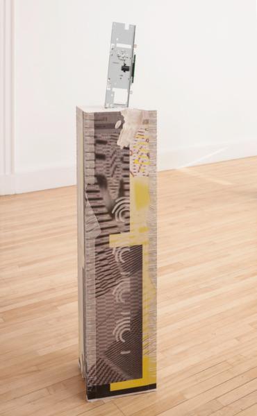 Alex Dordoy, Congsumer (Scanner), 2014, Jesmonite, fibreglass, toner transfer, oil, scanner from Konica Minolta DiALTA, 126 x 32.5 x 31 cm, Installation view, 'persistencebeatsresistance', Inverleith House, Edinburgh, 2014