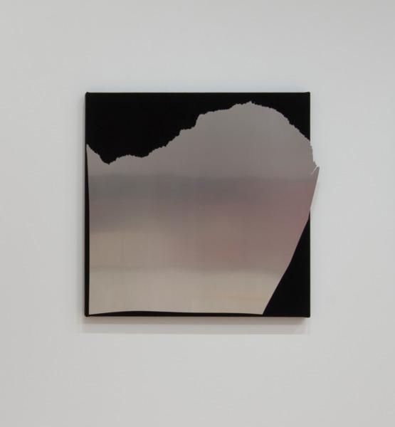 Kim Fisher, Aluminum #12, 2014, Aluminum on dyed linen, 96.5 x 96.5 x 4.5 cm