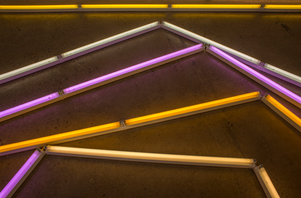 Mark Handforth, The Excentric Circle, 2015 (detail), Fluorescent lights, fixtures, colour gels, Dimensions variable