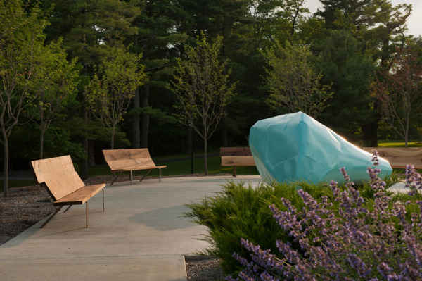 Mark Handforth, Bard Bench (Oak-Black Walnut- Tulip Poplar), 2011, Bard trees and stainless steel, Dimensions variable, Installation view, Hessel Museum of Art, New York, 2011