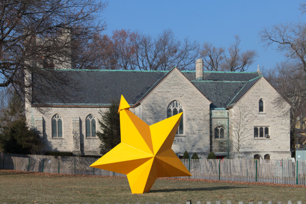Mark Handforth, Saffron Star, 2013, Painted aluminum, 330.2 x 317.5 x 127 cm, Installation view 'Sidewalk Island', Governor's Island, New York, 2014
