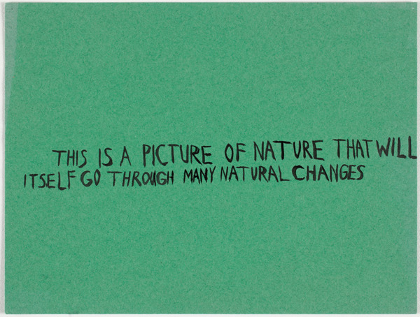 Untitled (This is a picture of nature…), 2001, Acrylic on coloured construction paper, 22.9 x 30.3 cm