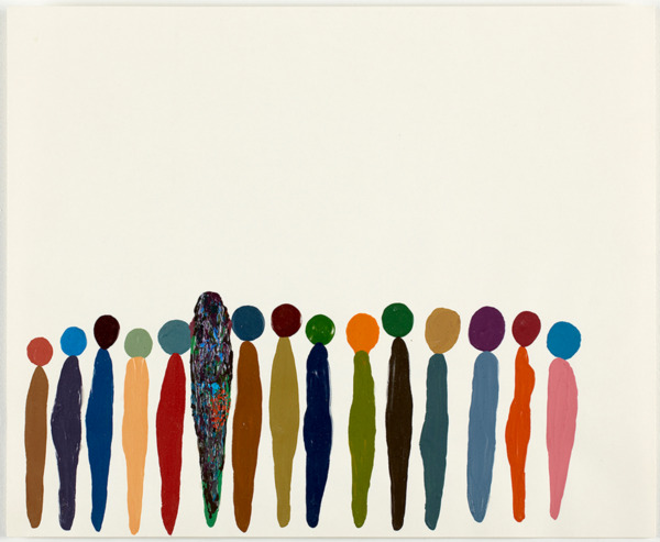 Untitled (Fifteen coloured figures), 2006, Acrylic on paper